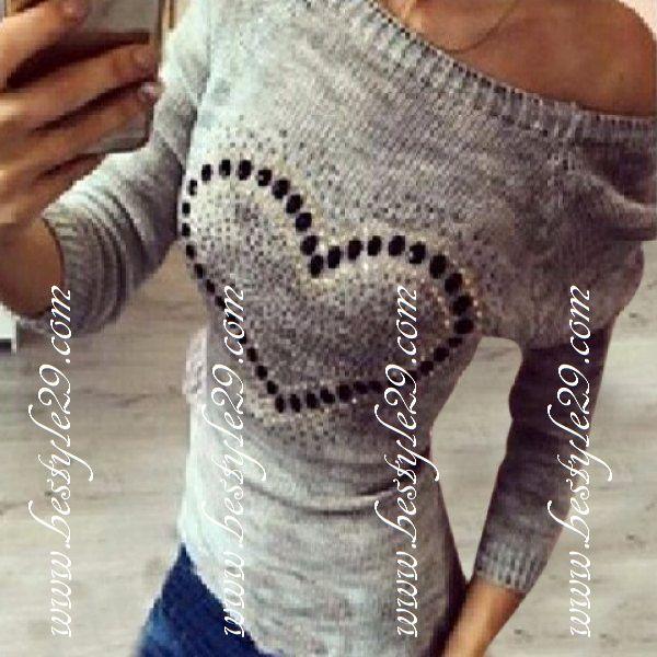 18€ Pull fashion gris coeur en strass noir - bestyle29.com