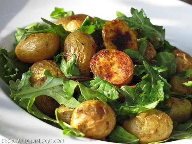 Paleo Recipes - Roasted Spiced Arugula & Spud Salad.
