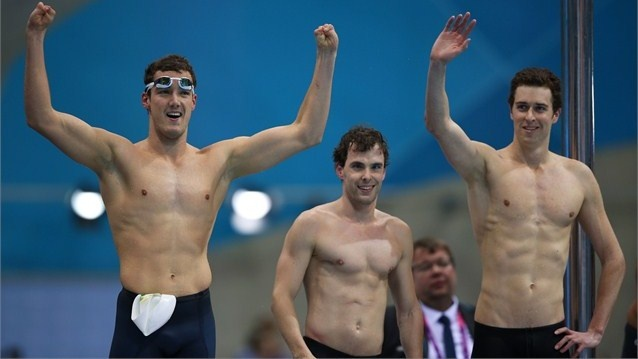 Australia take gold in the Men's 4x100m Freestyle Relay  Blake Cochrane, Matthew Levy and Andrew Pasterfield of Australia celebrate winning the gold in the Men's 4x100m Freestyle Relay - 34 Points final on Day 4 of the London 2012 Paralympic Games at Aquatics Centre