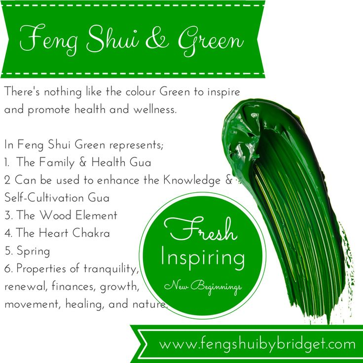 Feng Shui and the colour green, fresh, inspiring, new beginnings.
