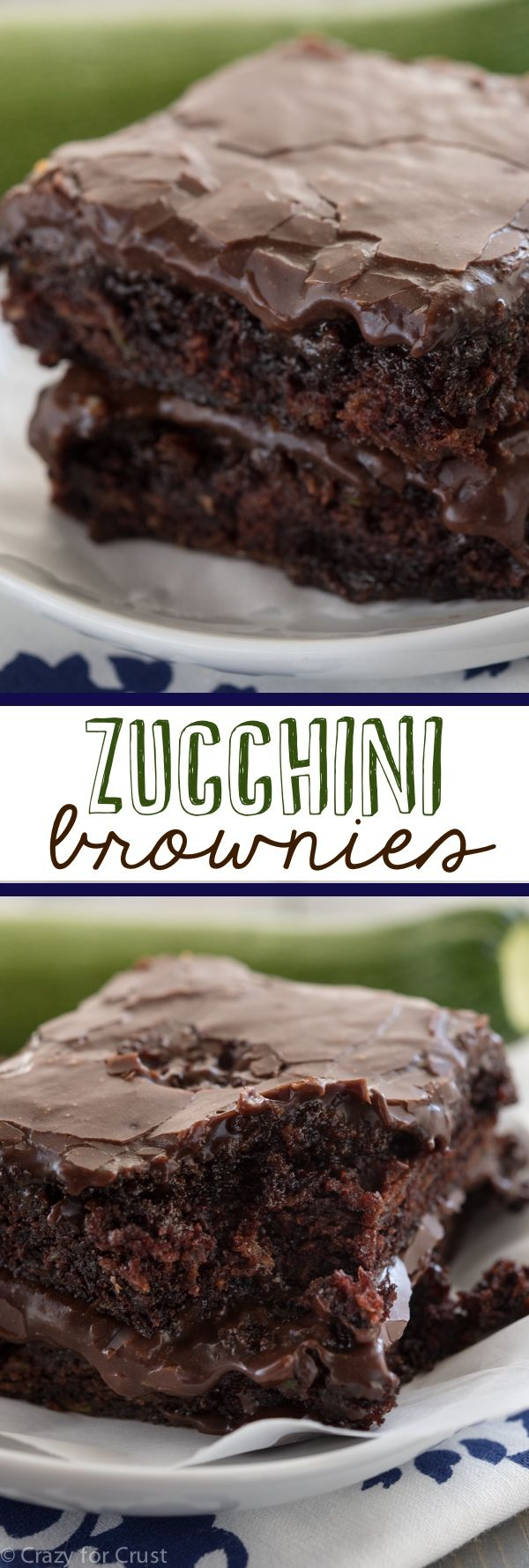 Zucchini Brownies  by crazyforcrust: The easiest recipe for the most gooey, chocolaty, fudgy brownies full of zucchini! And NO ONE will guess. #Brownies #Zucchini