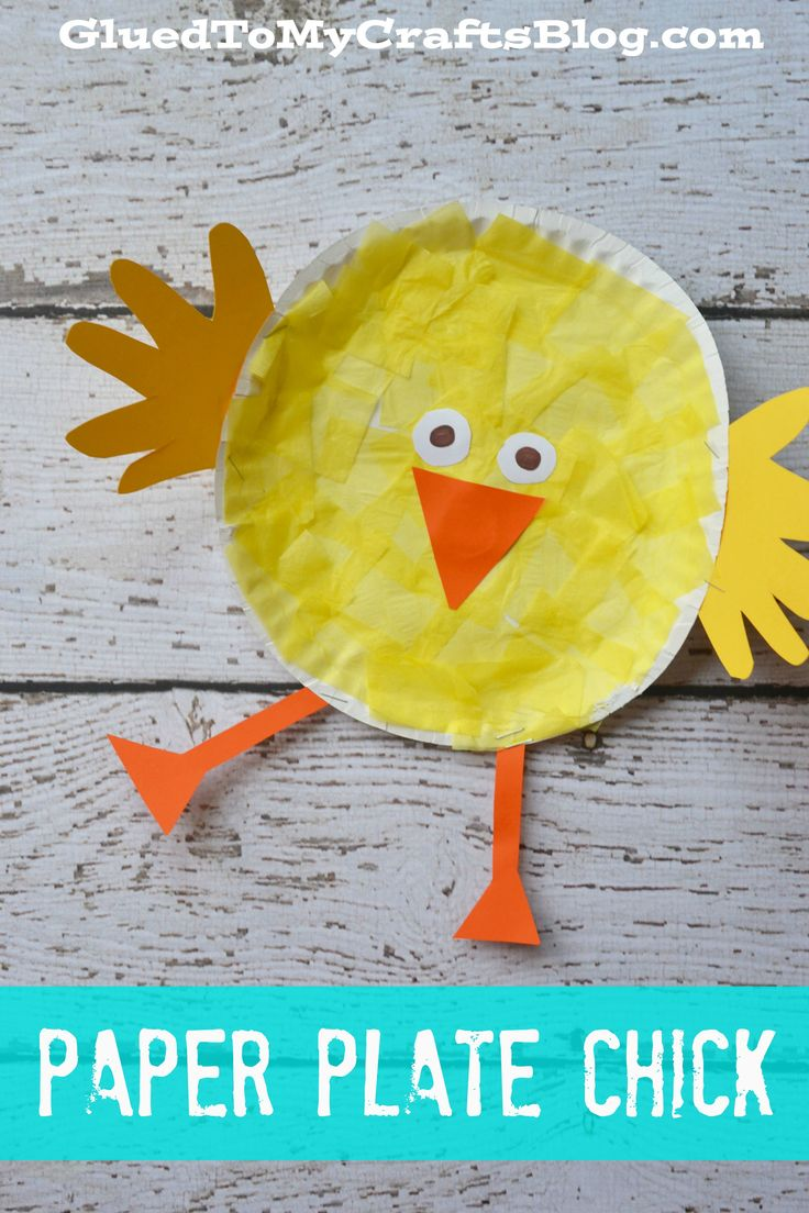 Easter arts and crafts for preschoolers - Paper Plate Chick Kid Craft