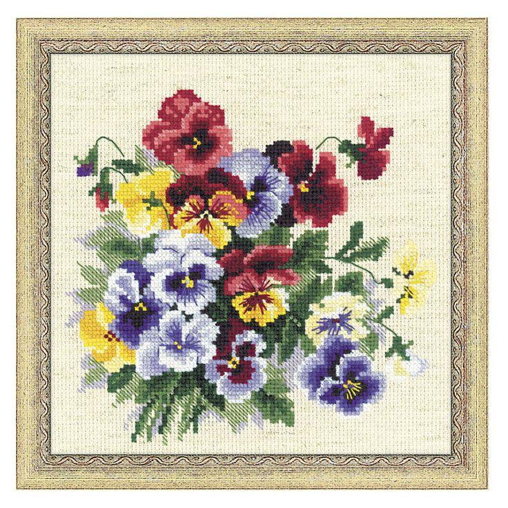 I ❤ cross stitch~ Pansies Counted Cross Stitch Kit - Cross Stitch, Needlepoint, Embroidery Kits