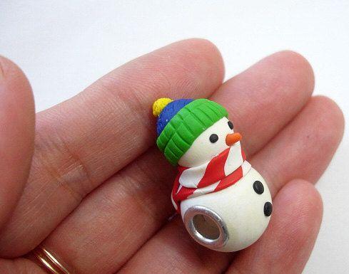 GUO GUO-European style grand trou Snowman perle Charm, fabriqués sur commande