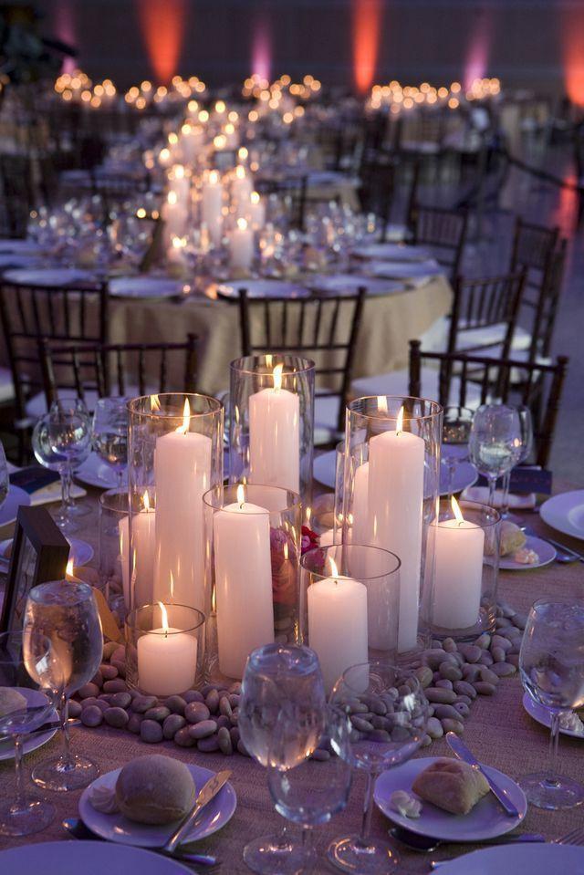 Unique and romantic wedding centerpiece idea; photo via Robertson's Flowers