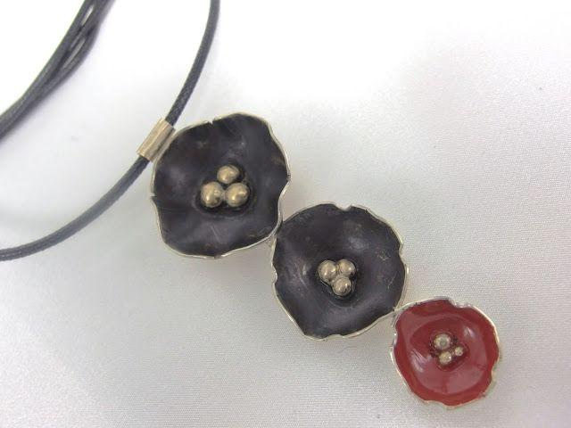 oxidized handmade pendant, handmade jewellery - Kiki   : Κρεμαστό από οξειδωμένο αλπακά και σμάλτο,