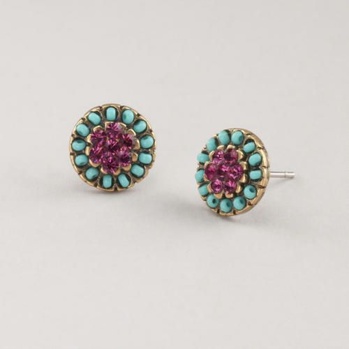 Turquoise and Purple Stud EarringsParties Prizes, Stud Earrings, Colors Combinations, So Pretty, Studs Earrings, World Marketing, Beautiful Things, Jewelry Turquois, Purple Studs