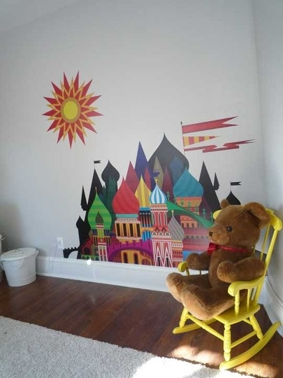 Kids room. Neutral color (burnished clay) for the walls punctuated with colorful furniture and accessories.