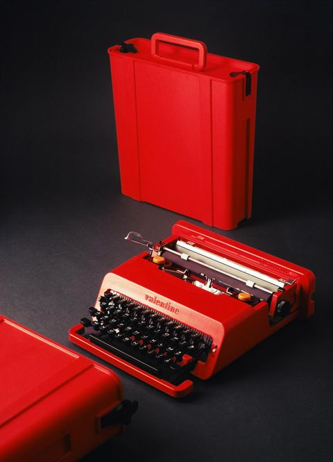 "Italian designer Ettore Sottsas designed the bright red type writer which became an icon of pop art in the late 1960's. His inspiration ""to keep lonely poets company on the weekends in the country"""
