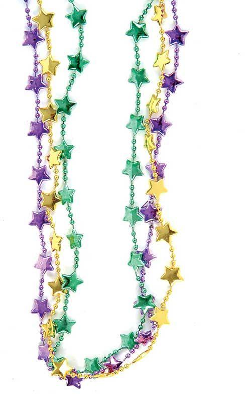 "mardi+gras+beads | Bulk 33"" Mardi Gras Star Beads"