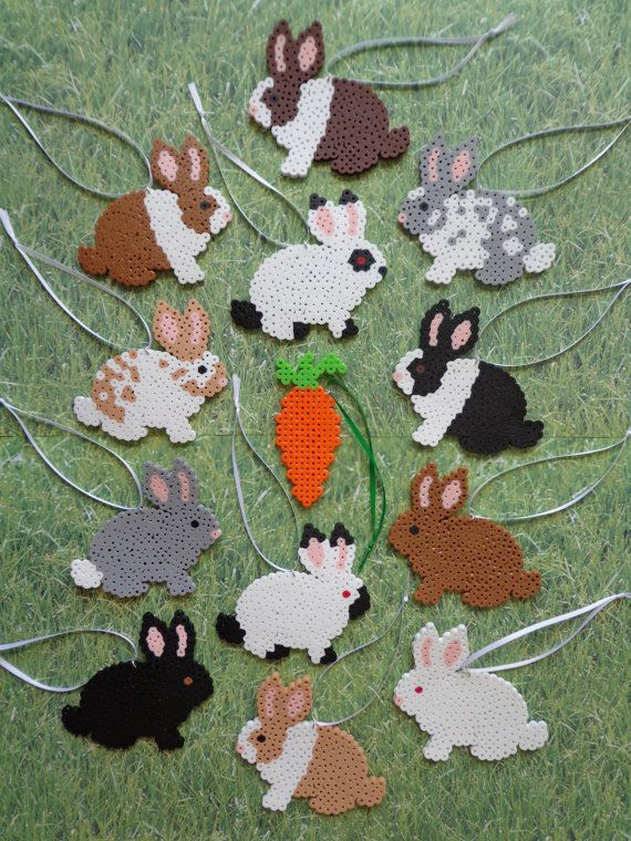 "Bunny Rabbit Perler Bead Decoration Ornaments / Gift Tag Set  ""1 Dozen Bunnies + 1 Carrot"""