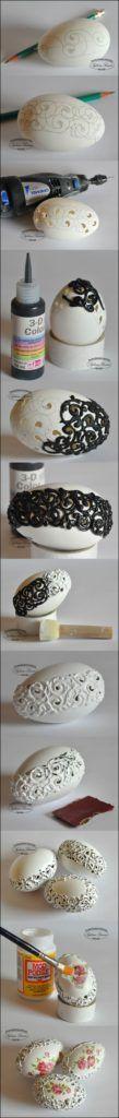 Wonderful DIY eggshell embroideries