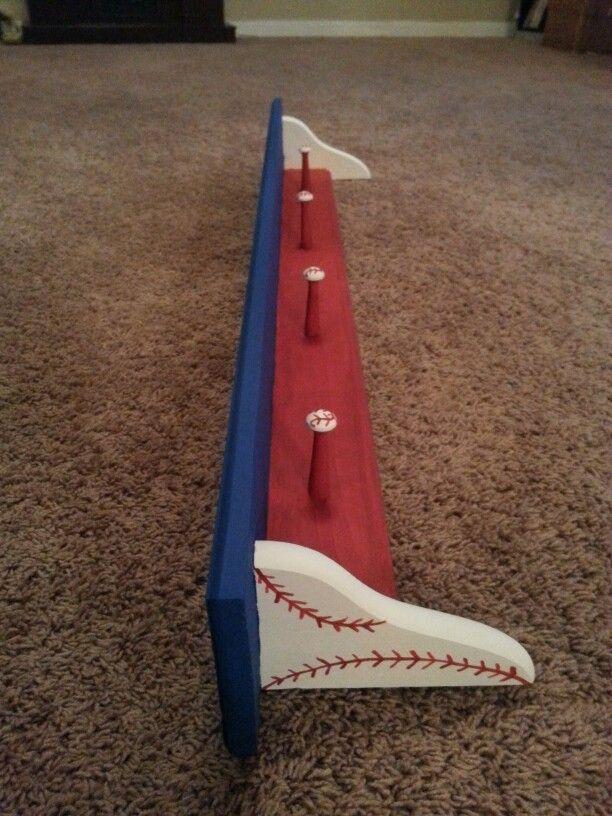 Handpainted Baseball trophy shelf