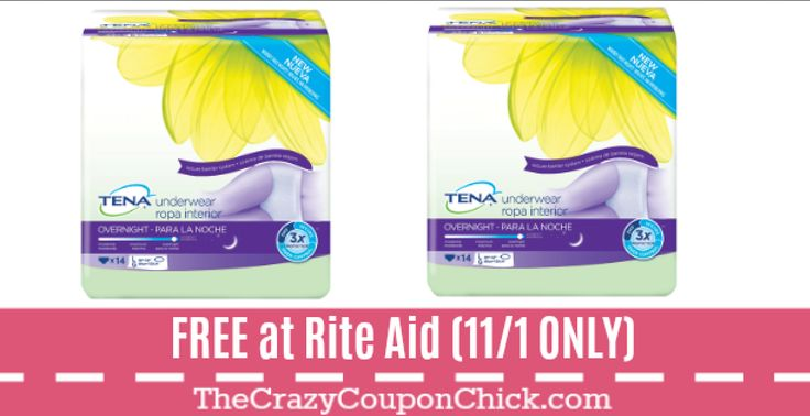 Print NOW! One Day ONLY! FREE Tena Pads at Rite Aid ($15 Value!) (11/1 ONLY)