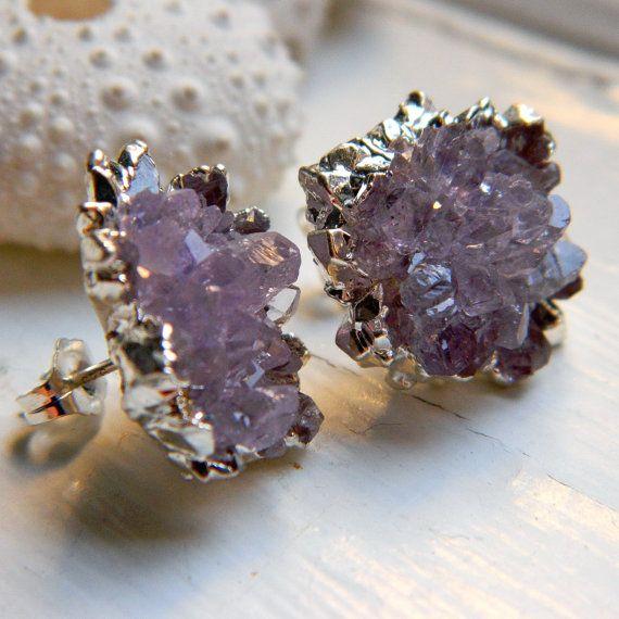 AMAZING High Quality Amethyst Rose Drusy / Druzy Quartz Stud Earrings $185