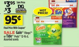 Tide Pods or Gain Flings 12-16 Count for $.95 at the Dollar General (Digital Coupon) through 04-22