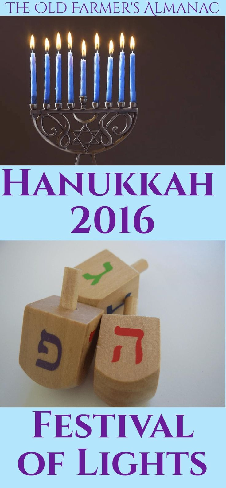 When does Hanukkah start for 2016? Check the holiday dates at The Old Farmer's Almanac.