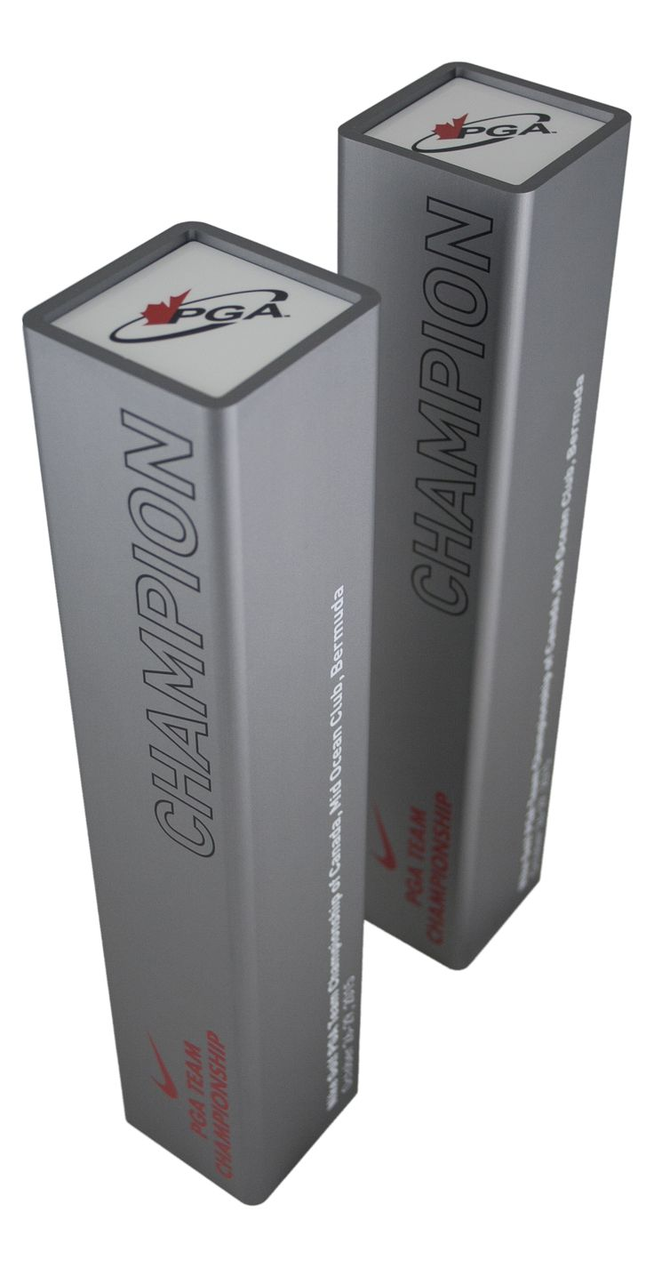 Aluminum PGA Award made from Square aluminium extrusion with anodized finish. Finished with UV flatbed prints.