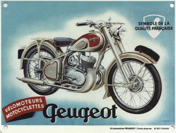 Peugeot Vélomoteurs Motocyclettes : Plaque décorative rétro en métal représentant une moto Peugeot. Idéal pour créer une déco dans l'ambiance vintage pourun garage, un atelier de réparation ou encore une concession automobile.