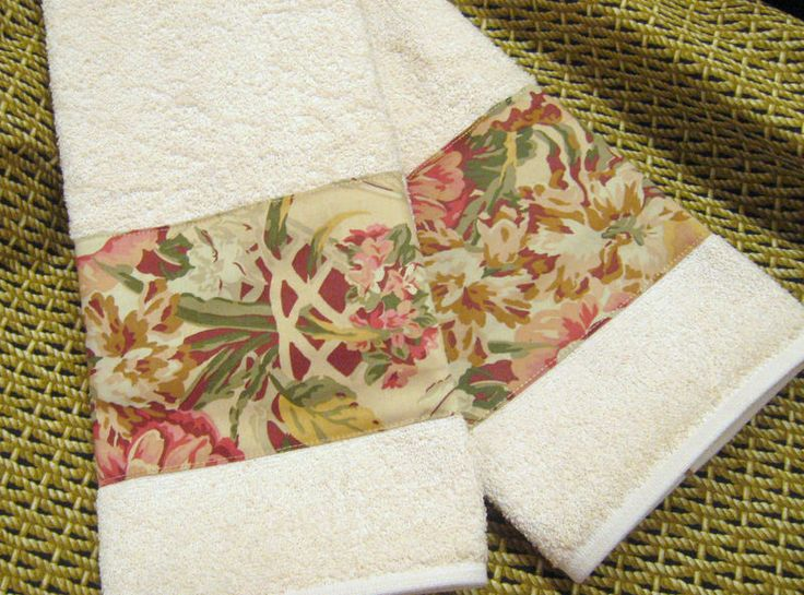 #HANDMADE /2 Decorated Hand Towels RALPH LAUREN GUINEVERE on CREAM  #CustomDecorated #Linens