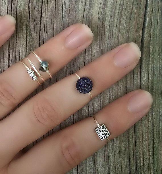 Blue Goldstone Midi Ring Set, Set of 5, Silver Knuckle Rings, Mid Finger Rings, Beaded Stacking Rings, Silver Midi Rings, $19  http://www.etsy.com/listing/244853259/blue-goldstone-midi-ring-set-set-of-5?ref=shop_home_active_8