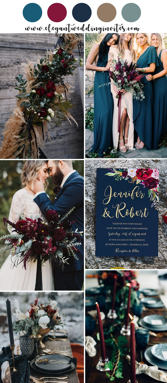 Moody Boho Chic Wedding Ideas With Matching Floral Wedding Invites Elegantweddinginvites Com Blog Fall Wedding Colors Floral Wedding Invitations Wedding Theme Colors