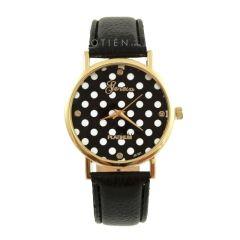 Zegarek czarny w białe kropki groszki