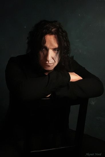 I know this isn't Rickman playing Snape for this pic but with the longer black hair, I can still kind of see it