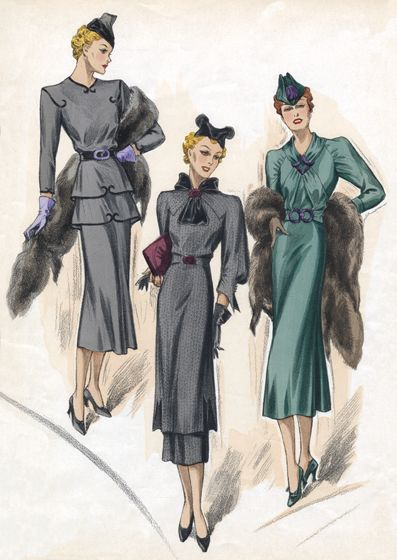 """Example of """"strange"""" dress details we can heighten for the Evita and Aristocratic Ladies 30s Fashion Sea-Colored Dresses 