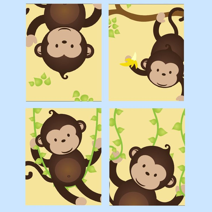 Monkey Nursery Art for boy or Girl, Set of Four  8x10 prints, great for nursery, or toddler room, or as a gift, boy/girl version by LittlePergola on Etsy https://www.etsy.com/listing/174564152/monkey-nursery-art-for-boy-or-girl-set