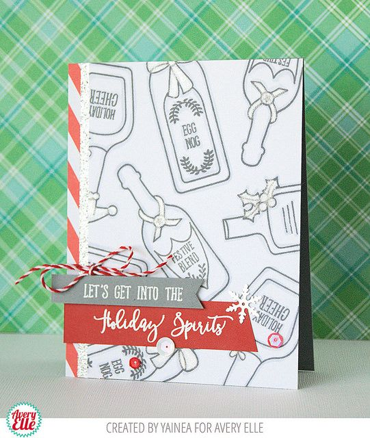 Yainea for Avery Elle Supplies: Holiday Spirits Clear Stamps The Jewel Collection Paper Pad Cherry Hemp Twine