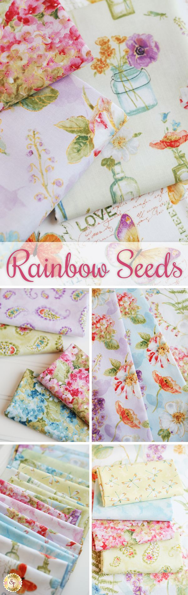 Rainbow Seeds by Lisa Audit for Wilmington Prints is a beautiful floral fabric collection available at Shabby Fabrics!