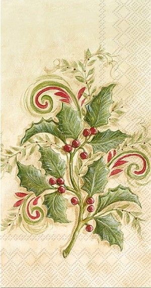 Holly Spring Guest Towels 192 ct Vintage Christmas, Holly