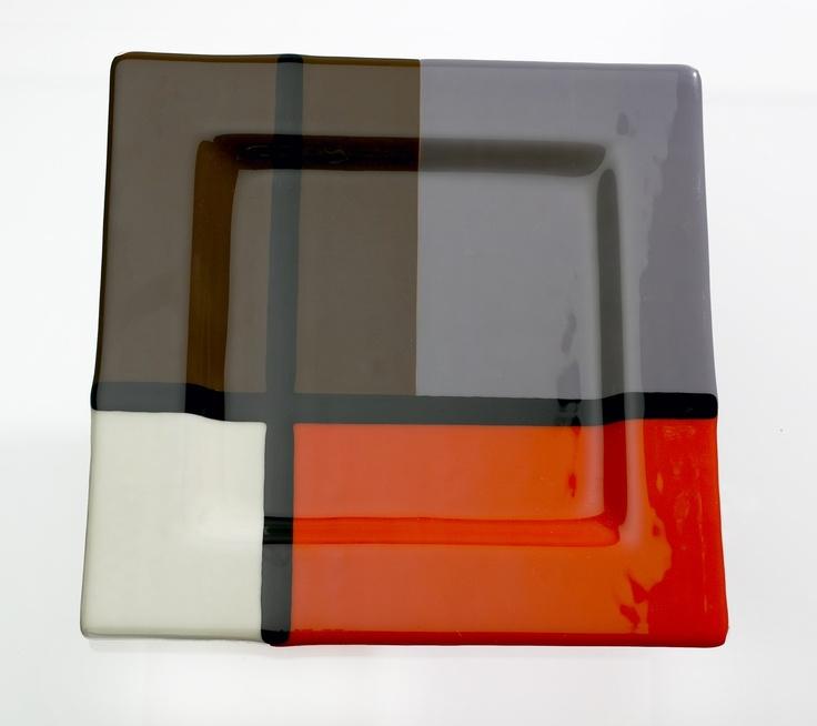 Mondrian Style Orange and Cream Glass Platter. $110.00, via Etsy.