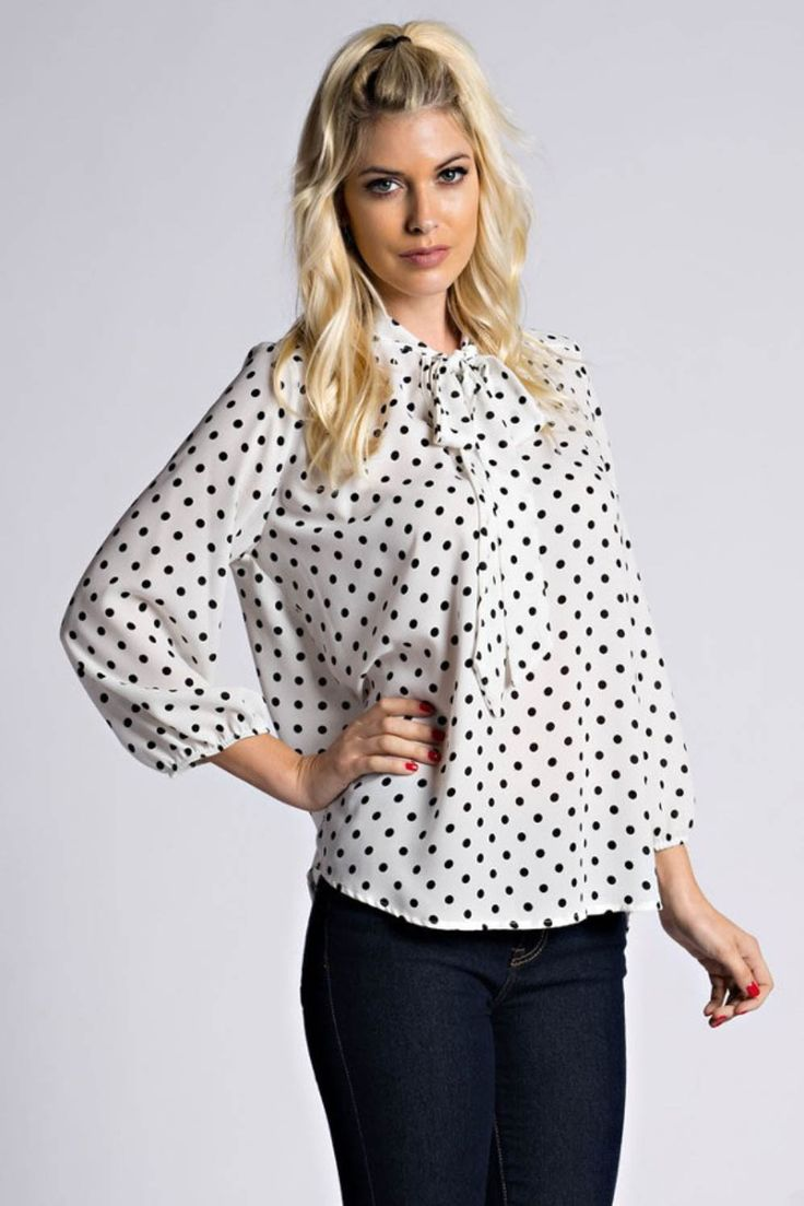Wooldobby polka dot cinched long sleeve with self ribbon neck tie blouse. A classic piece for every closet. Content + Care: 100% Polyester Hand Wash