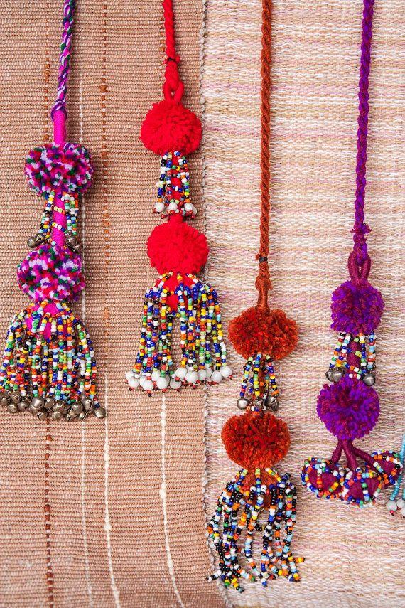Kuchi Pompoms Beads Tails Belt /Curtain by CHEZMOIMYHOME on Etsy, $30.00