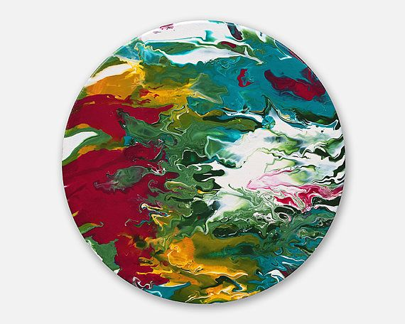 Original abstract painting on canvas round painting original