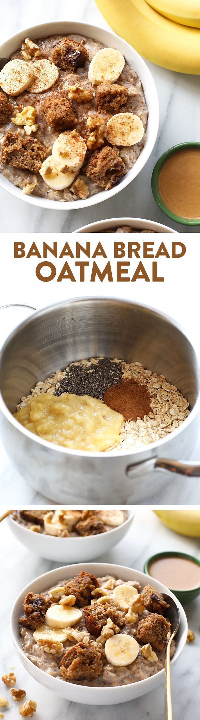 This fluffy banana bread oatmeal is double whipped on the stove and made with chia seeds to make it extra fluffy and deliciously filling!