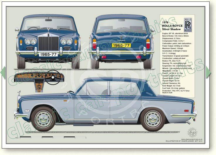 Rolls Royce Silver Shadow 1965-77 classic car portrait print