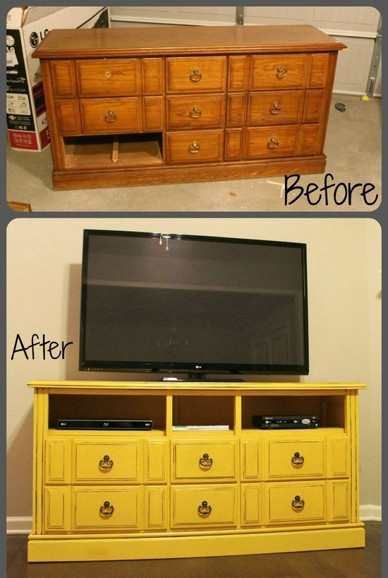 turning broken old furniture into something useful by simply painting it a unique color and making a couple rearrangments.