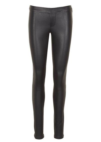 Pantalon slim taille basse en cuir Quartz Noir by BA & SH