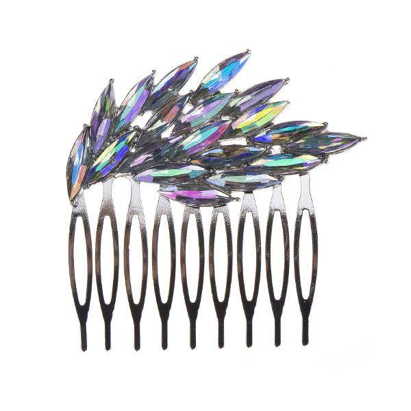 Stijlvolle zilverkleurige haarkam met parelmoer kleurige strass steentjes. Mooie abstracte vorm die zeer elegant staat in het opgestoken haar!
