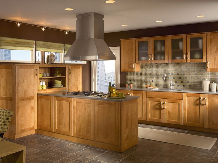 Moir glass accents maple cabinetry in light praline to for Floor kitchen cabinets