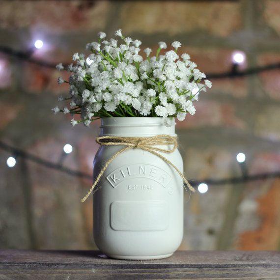 White Painted Kilner Mason Jar UK Wedding by WedlockShopUK