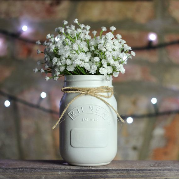 White Painted Kilner Mason Jar UK | Wedding Centrepiece / Table Decoration, Vase, Makeup Brush Holder, Pen Pot