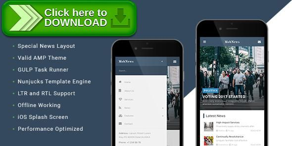 [ThemeForest]Free nulled download MobNews - AMP News Template from http://zippyfile.download/f.php?id=21911 Tags: accelerated mobile pages, amp, arabic, business, clean, gulp, gulp.js, ipad, iphone, news, nunjucks, responsive, right to left, rtl, template engine
