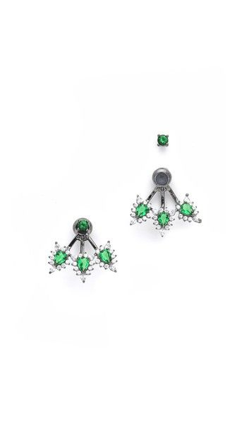 Noir Jewelry Louise Ear Jackets - green cubic zirconia matched with black rhodium plating - $63