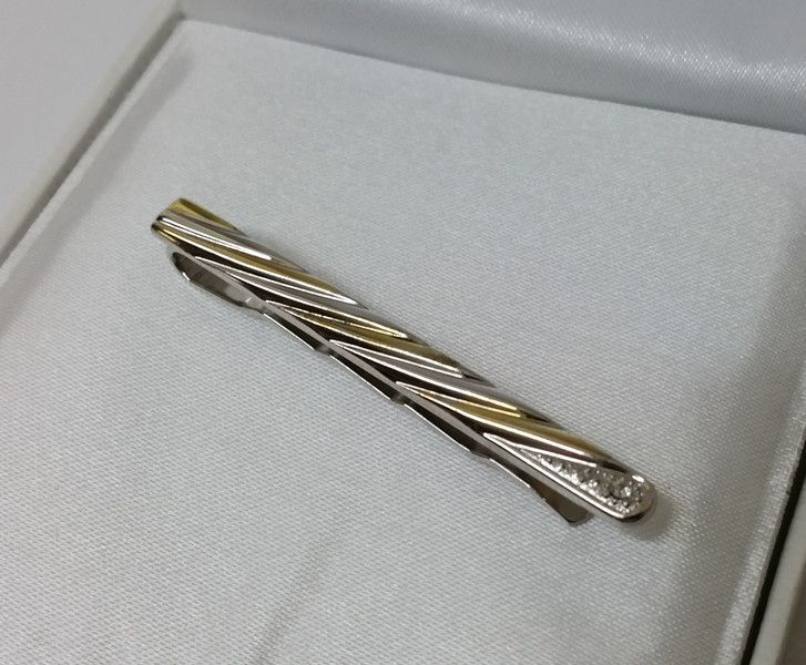 Vintage Krawatten - 925er Krawattennadel teilvergoldet Kristall SB253 - ein…