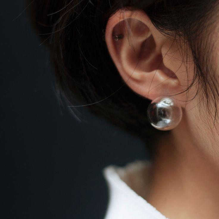 // Clear Ball Earring