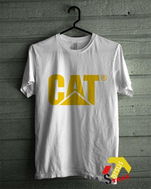 CAT Caterpillar Costruction Logo Emblem Diesel Power White T-Shirt All Size Shirt
